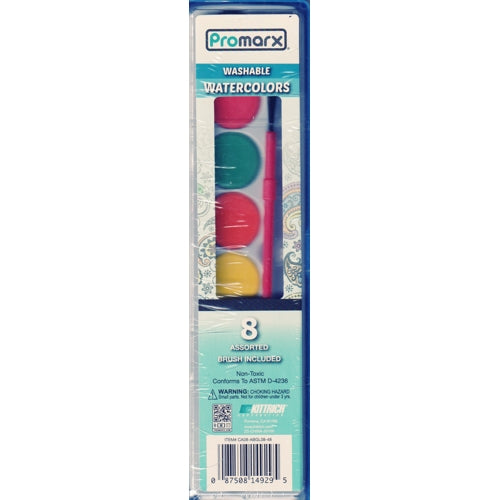 Washable Watercolors Paint (8 Water Colors with Artist Brush)