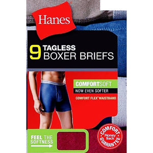 Hanes Men's Tagless Comfort Flex Waistband Boxer Briefs (9 Pack) Select Size