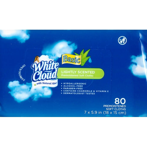 White Cloud Lightly Scented Basic Wipes with Natural Aloe (80 Pre-moistened Soft Cloths)