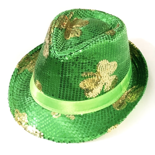 Shamrock St. Patrick's Green Sequin Fedora Hat (One Size fit Most)