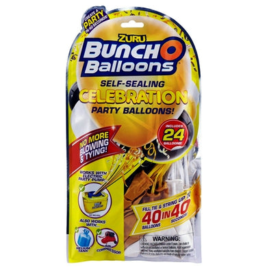 Bunch O Balloons Self-Sealing Celebration Party Balloons (24 Pack) Gold, Black, and White