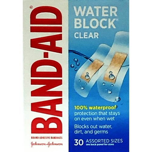 Band-Aid Water Block Clear Adhesive Bandages (30 Pack)