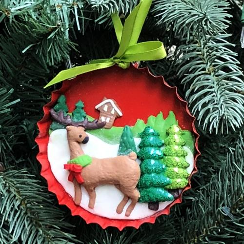 Reindeer Claydough Christmas Ornament (Friends & Family Collection) with Free Local Delivery in Champaign & Vermilion County IL.