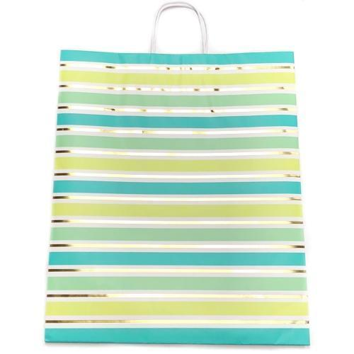 Case of 24 Shades of Green Stripes Jumbo Gift Bag (15.75