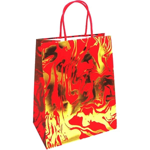 "Red/Gold Embossed Gift Bag (9.75"" x 7.75"" x 4.75"")"