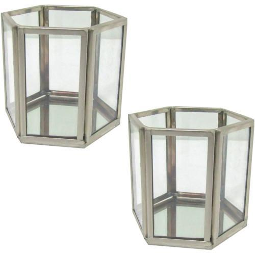 Hexagon Pewter Glass Candle Holder/Terrarium 2-Piece Set