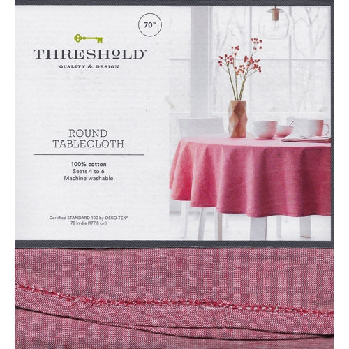 Chambray Hemstitch Round Table Cloth - Red (70