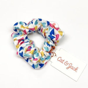 Girl's White & Colorful Hearts Elastic Bow Scrunchie with Free Local Delivery in Champaign & Vermilion County IL.