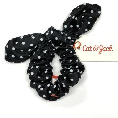 Girl's Black & White Dots Elastic Bow Scrunchie with Free Local Delivery in Champaign & Vermilion County IL.