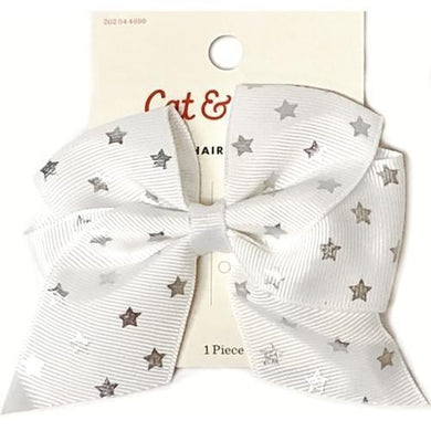 Silver Stars White Bow Hair Clip with Free Local Delivery in Champaign & Vermilion County IL.