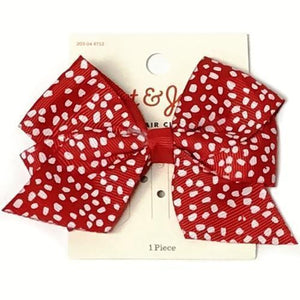 Red/White Bow Hair Clip with Free Local Delivery in Champaign & Vermilion County IL.