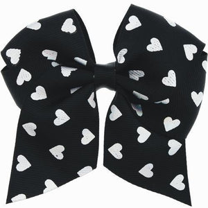 Iridescent Hearts Black Bow Hair Clip with Free Local Delivery in Champaign & Vermilion County IL.