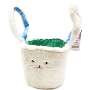 "Furry Bunny Basket with Floppy Ears Handle (6"" x 5""D) All Fabric Materials"