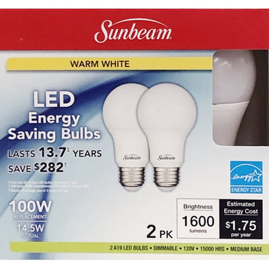 14.5 Watt Dimmable A19 LED Light Bulbs - Warm White (2 Pack) 100W Equiv.