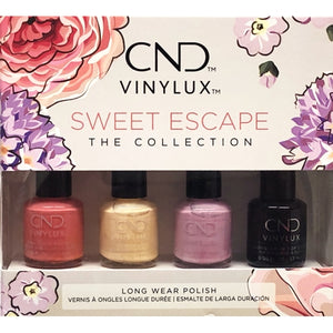 CND VINYLUX Sweet Escape The Collection Long Wear Nail Polish Set (4 Pack) Includes Long Wear Top Coat