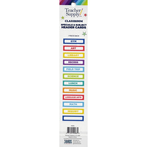 Teacher Supply Co. Classroom Specials & Subjects Header Cards (12 Pack)