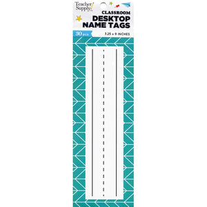 "Teacher Supply Co. Classroom Desktop Name Tags - Chevron (30 Pack) Large Size 3.25"" x 9"""