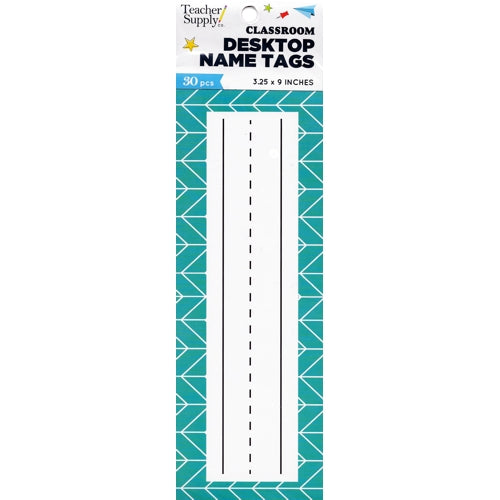 Teacher Supply Co. Classroom Desktop Name Tags - Chevron (30 Pack) Large Size 3.25