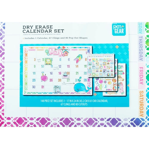 Art Skills Dry Erase Monthly Calendar Wall Display with Clings & Cutouts (24