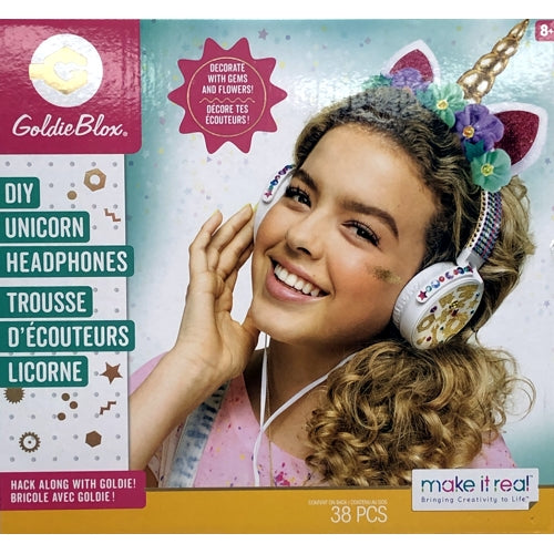Goldie Blox DIY Unicorn Headphones Kit (38-Piece Kit) Includes STEM Facts