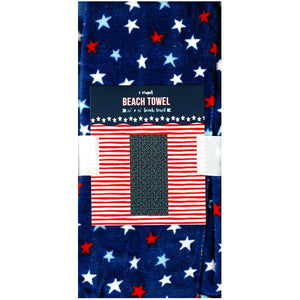 "Patriotic Red White Blue Stars 27"" x 58"" Large Beach Towel (100% Cotton)"