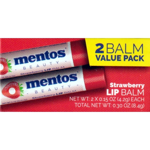 Mentos Strawberry Flavored Lip Balm Set (2 Pack)