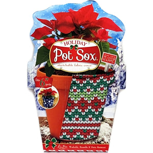"Holiday Pot Sox (fits 6"" Floral Pots) Stretchable Fabric Cover"