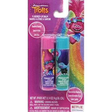 DreamWorks Trolls Strawberry/Watermelon Flavored Lip Balm Set (2 Pack - Poppy/Branch)