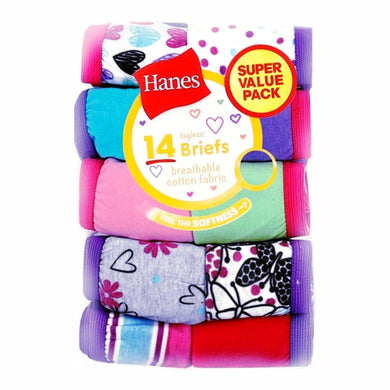 Hanes Girls' Tagless Cotton Briefs Underwear (14 Pack) Select Size