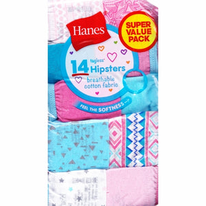 Hanes Girls' Tagless Cotton Hipsters Underwear (14 Pack) Select Size