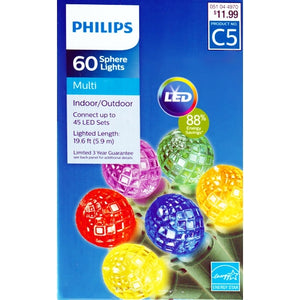 LED String Lights 60 Multicolor Sphere Light Set Break Resistant (19.6 ft.)