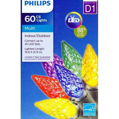 Philips LED String Lights 60 Multicolor C6 Light Set Break Resistant (19.6 ft.) with Free Local Delivery in Champaign & Vermilion County IL.