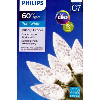 Philips LED String Lights 60 Pure White C6 Light Set Break Resistant (19.6 ft.) with Free Local Delivery in Champaign & Vermilion County IL.