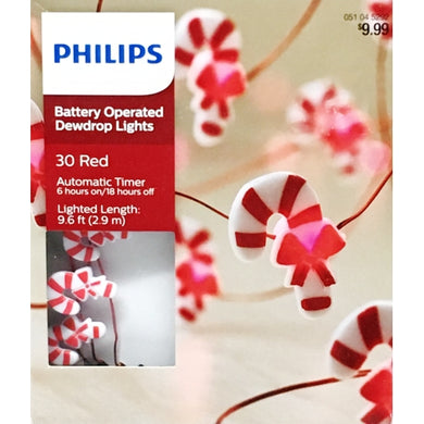 LED String Lights 30 Red Candy Cane LED Dewdrop String Lights (9.6 ft.) Battery Operated