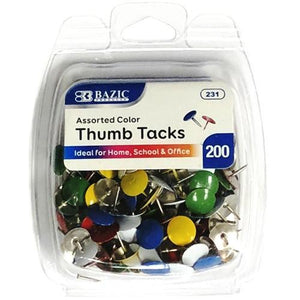 Assorted Color Thumb Tacks (200 pack) with Free Local Delivery in Champaign & Vermilion County IL.