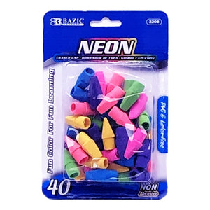 Bazic Neon Colorful Cap Erasers (40 Count)