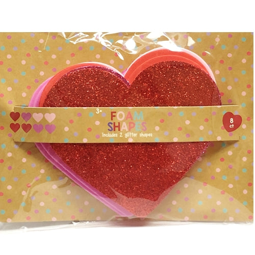 Red/Pink Heart Foam Shapes (8 Pack)