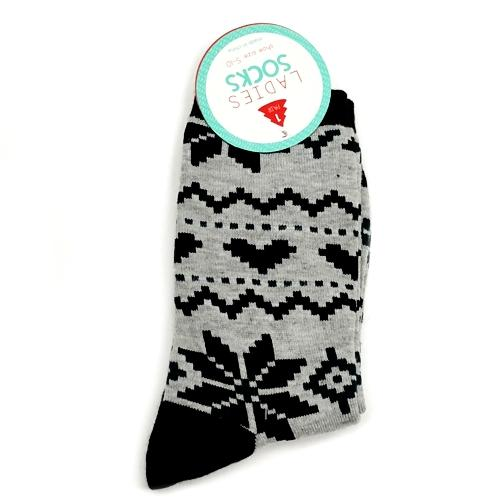Ladies Crew Style Socks - Argyle Snowflakes Socks (One Pair) with Free Local Delivery in Champaign & Vermilion County IL.