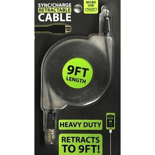 Heavy Duty Micro USB Sync Charger Retractable 9 ft. USB Cable Cord with Free Local Delivery in Champaign & Vermilion County IL.