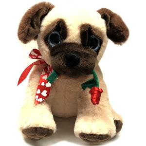 "Pugs and Kisses Pug Dog Plush Stuffed Animal - 10.25"" (Select design)"
