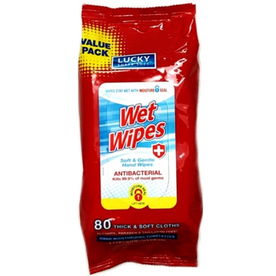 Lucky Antibacterial Wet Wipes (80 Pre-moistened Soft Cloths) Kills 99.9% of most germs