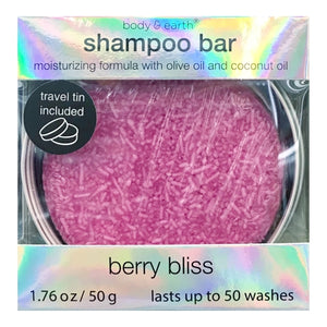 Berry Bliss Shampoo Bar with Travel Tin (Net wt. 1.76 oz.) Lasts up to 50 Washes