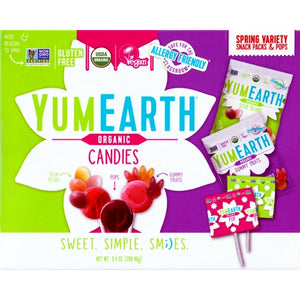 YumEarth Organic Candies Spring Variety Snack Packs & Pops (Net Wt. 9.4 oz.) 30 Pieces
