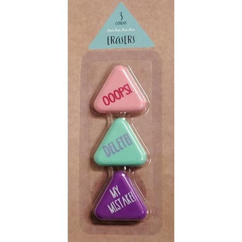 Ooops! Delete! My Mistake! Triangle Erasers (3 Pack) with Free Local Delivery in Champaign & Vermilion County IL.