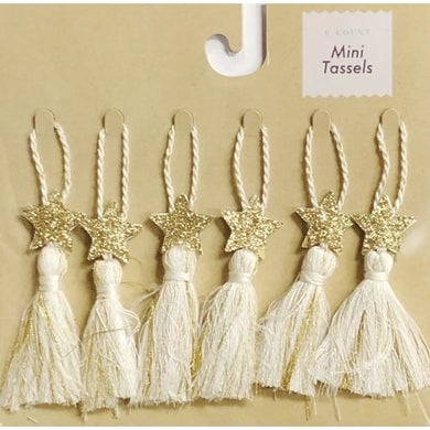White & Gold Glitter Star Mini Tassels (6 Count) on Sale up to 80% Off at 5to99.com Daily Deals Dollar Store.