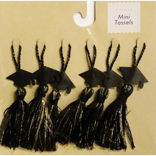 Black & Gold Hats Graduation Cap Mini Tassels (6 Count) with Free Local Delivery in Champaign & Vermilion County IL.