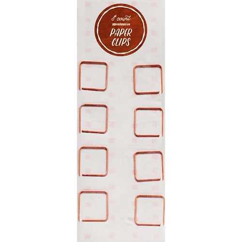 Pink Square Metal Paper Clips (8 Pack)