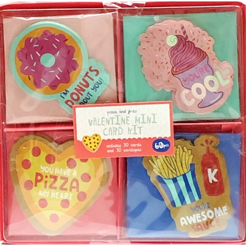 Pizza and Fries Valentine Mini Note Cards w/Envelopes Kit (30 Pack)