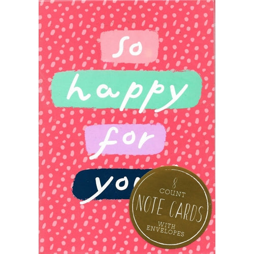 So Happy For You Note Cards with Matching Envelopes (8 Pack)