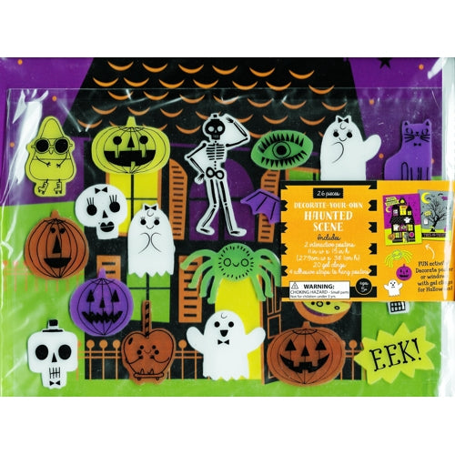 Happy Haunting 26-piece Halloween Gel Clings & Posters Set (Haunted House)